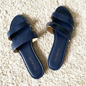 Talbots Navy Blue Sadie Slides